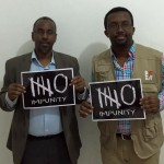 Somali Minister of Internal Security Abdirisak Omar Mohamed joins NUSOJ led campaign to end impunity of crimes against journalists. Left: Minister Abdirisak; Right: NUSOJ Secretary General Omar Faruk